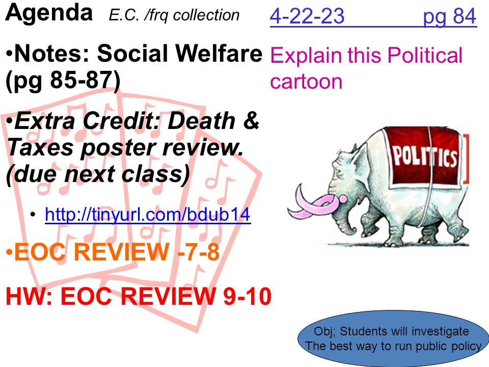 Agenda E.C. /frq collection Notes: Social Welfare (pg 85-87)