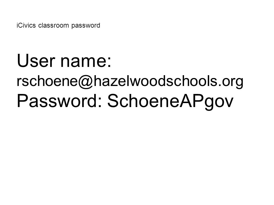 iCivics classroom password