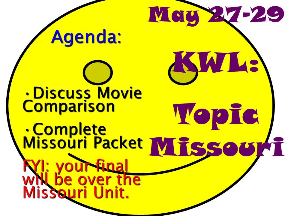 KWL: Topic Missouri May 27-29 Agenda: Discuss Movie Comparison