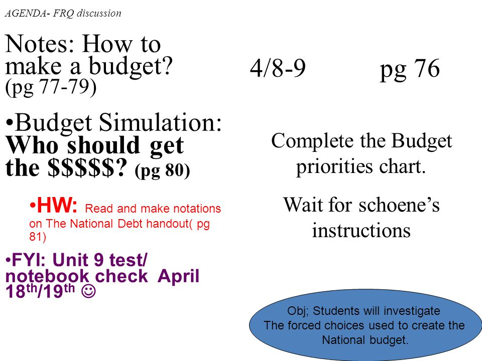 Notes: How to make a budget (pg 77-79)