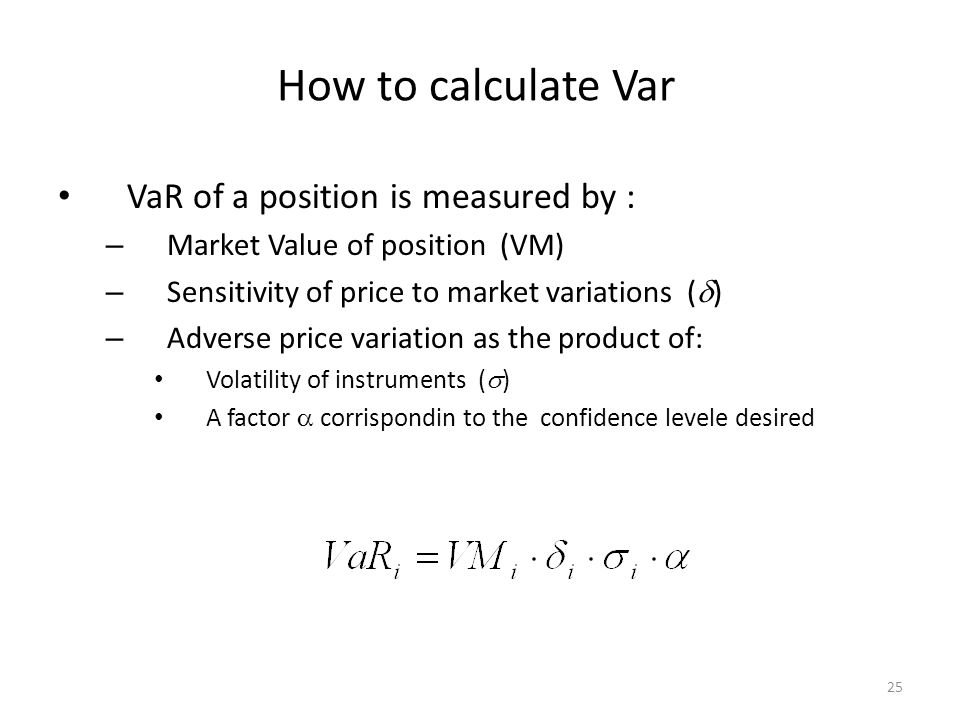 How to calculate Var VaR of a position is measured by :
