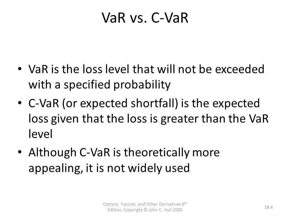 VaR vs. C-VaR VaR is the loss level that will not be exceeded with a specified probability.