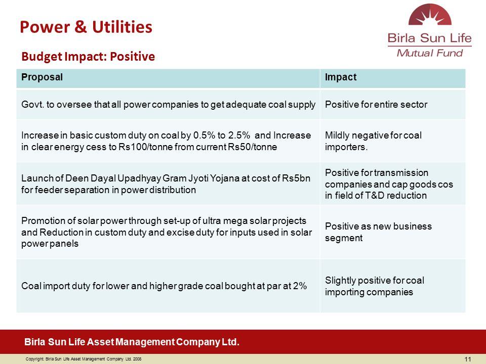 Power & Utilities Budget Impact: Positive Proposal Impact