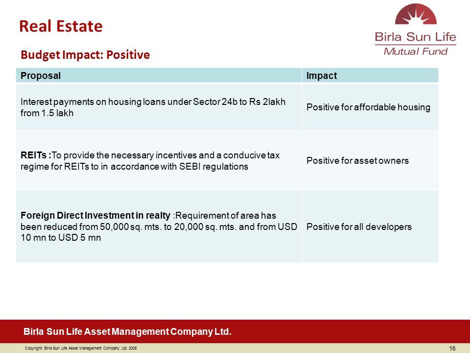 Real Estate Budget Impact: Positive Proposal Impact