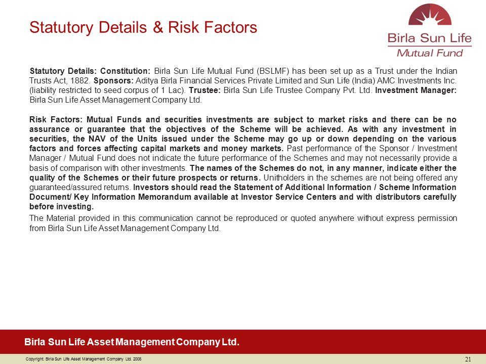 Statutory Details & Risk Factors