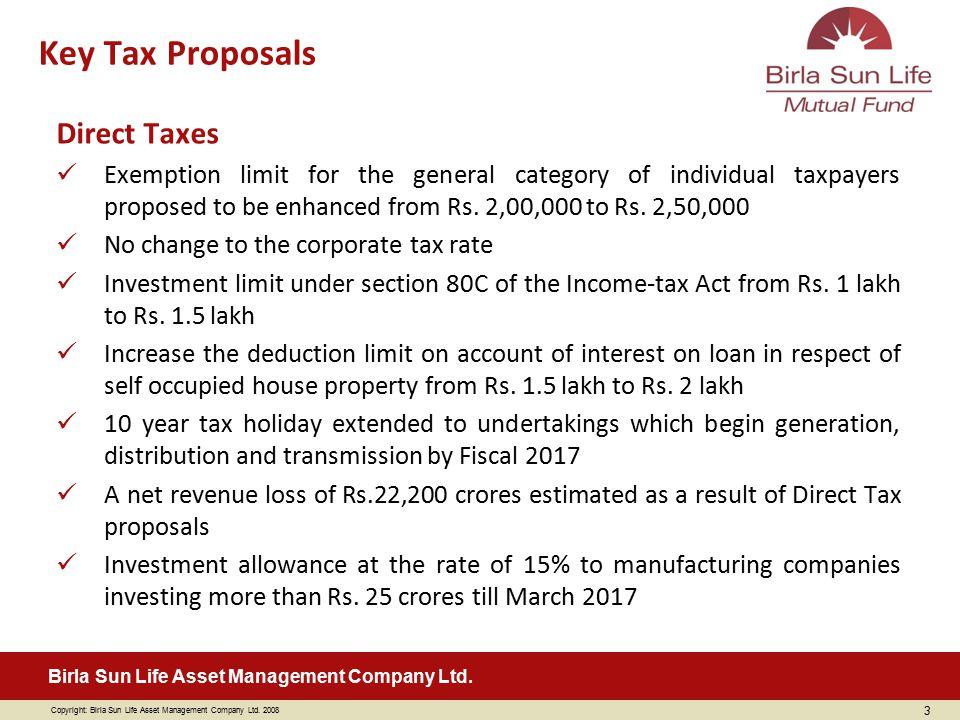 Key Tax Proposals Direct Taxes