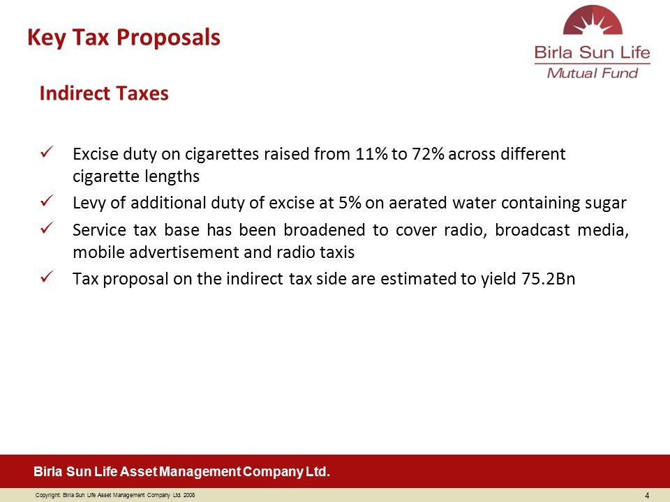 Key Tax Proposals Indirect Taxes
