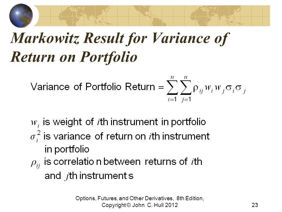 Markowitz Result for Variance of Return on Portfolio