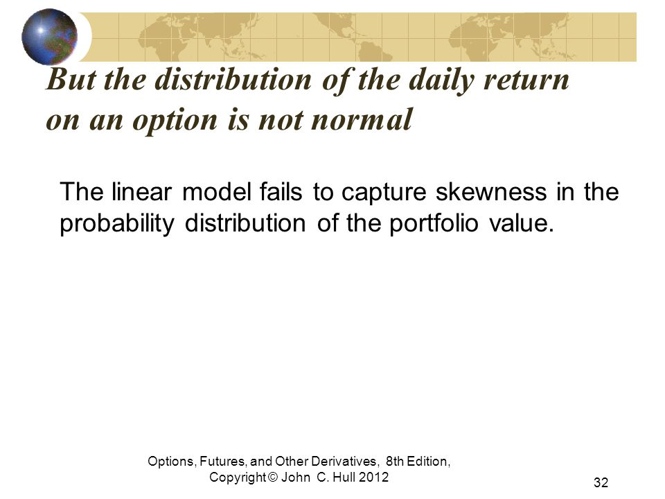 But the distribution of the daily return on an option is not normal