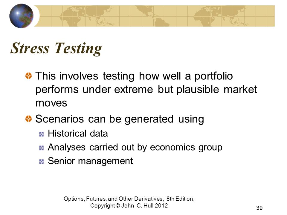 Stress Testing This involves testing how well a portfolio performs under extreme but plausible market moves.