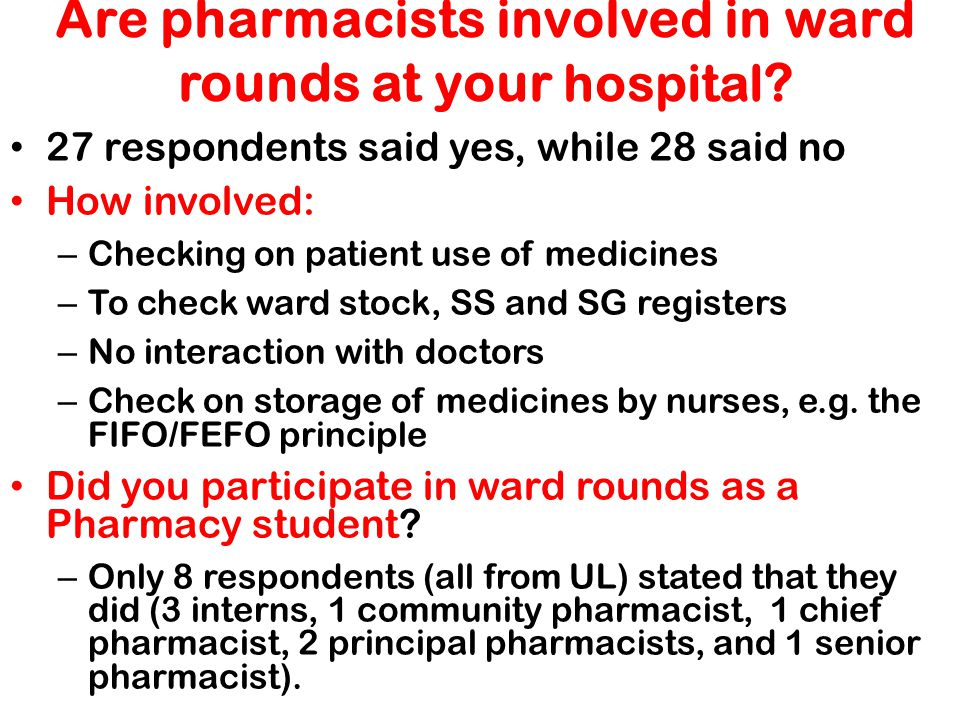 Are pharmacists involved in ward rounds at your hospital