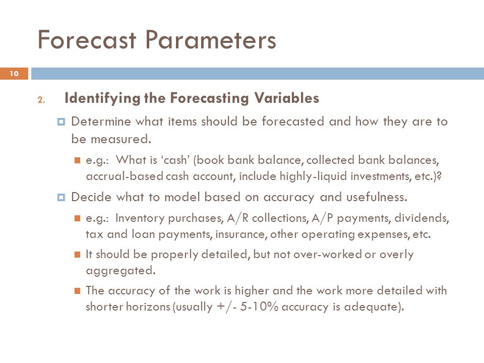 Forecast Parameters Identifying the Forecasting Variables