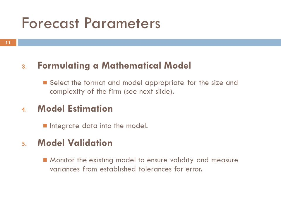 Forecast Parameters Formulating a Mathematical Model Model Estimation