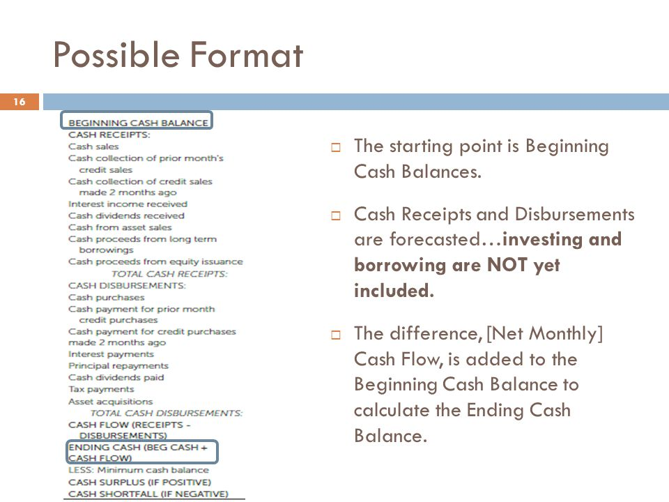 Possible Format The starting point is Beginning Cash Balances.