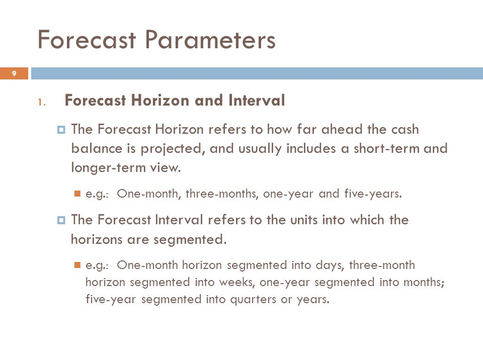 Forecast Parameters Forecast Horizon and Interval