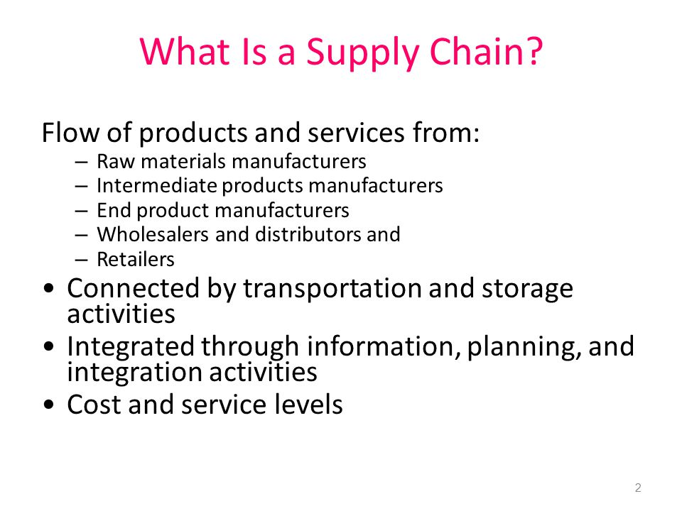 What Is a Supply Chain Flow of products and services from: