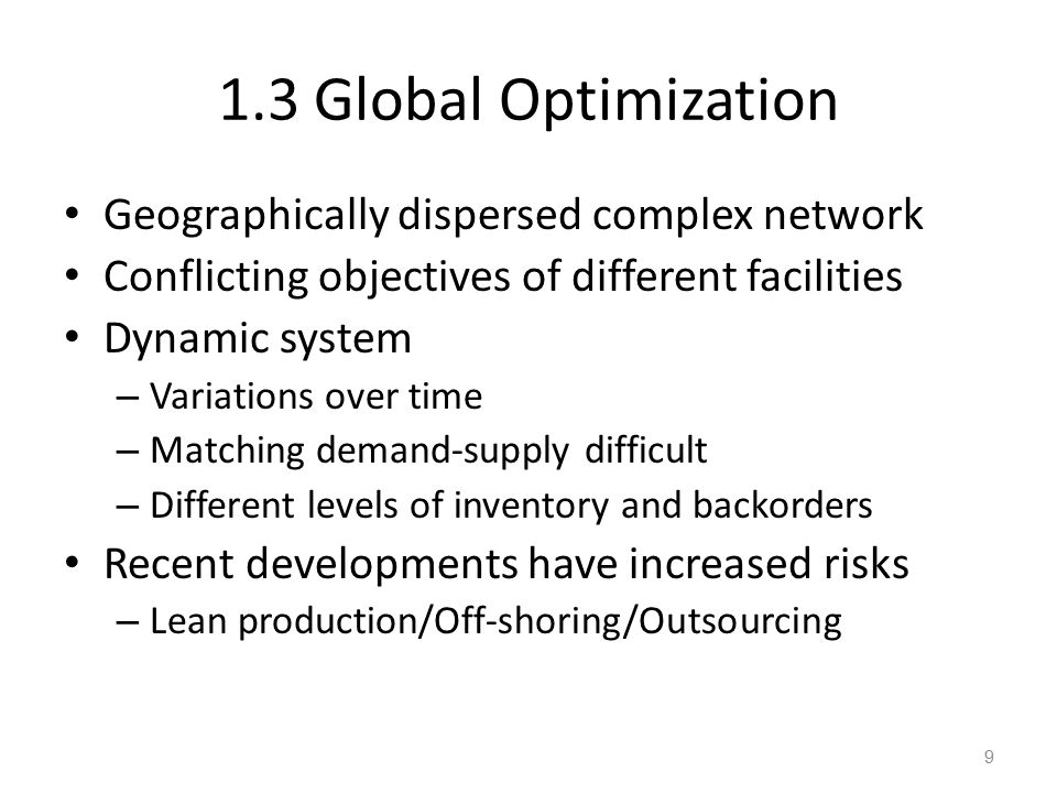1.3 Global Optimization Geographically dispersed complex network