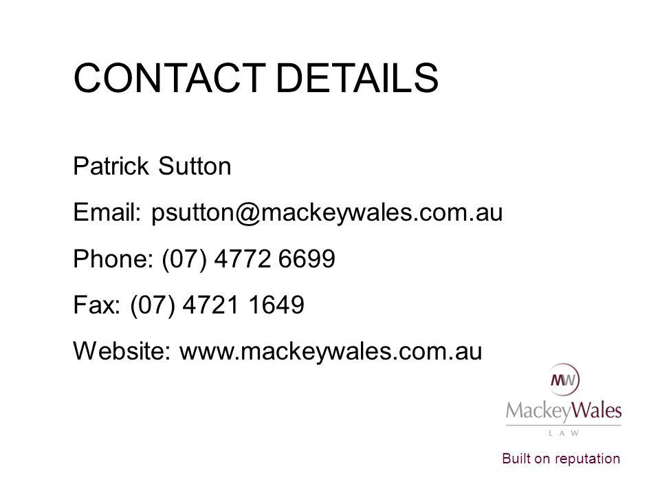CONTACT DETAILS Patrick Sutton