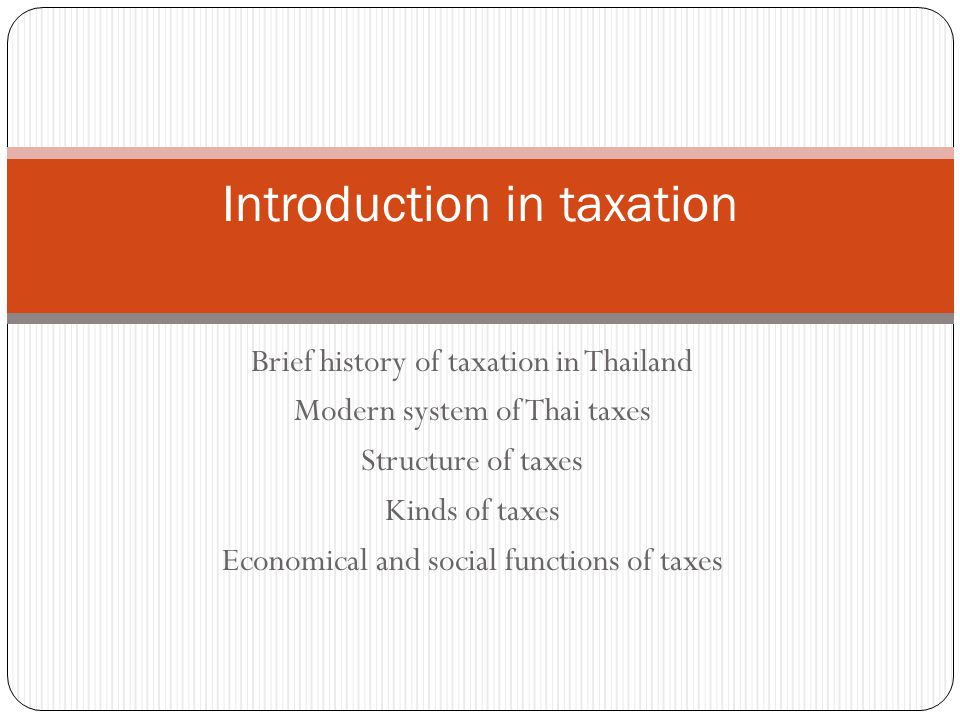 Introduction in taxation