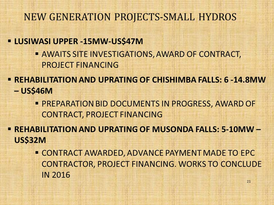 New Generation projects-SMALL HYDROS
