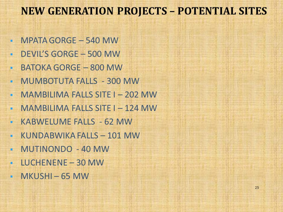NEW GENERATION PROJECTS – POTENTIAL SITES