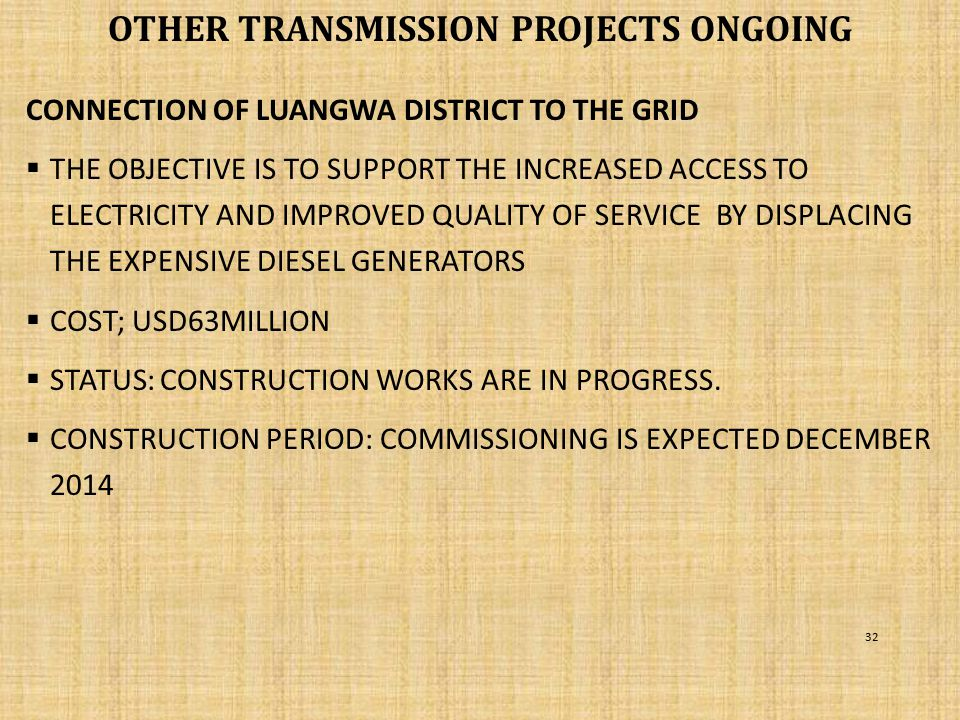 Other TRANSMISSION PROJECTS ongoing