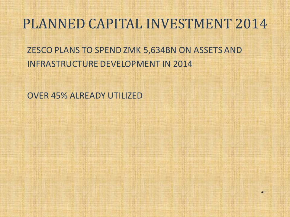 PLANNED CAPITAL INVESTMENT 2014