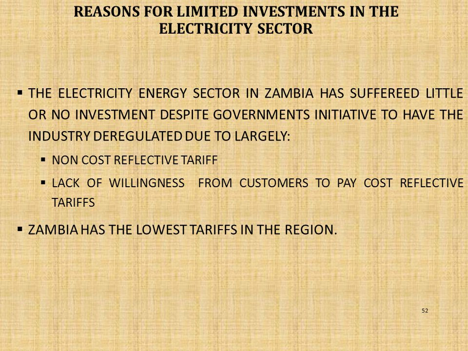 REASONS FOR LIMITED INVESTMENTS IN THE ELECTRICITY SECTOR