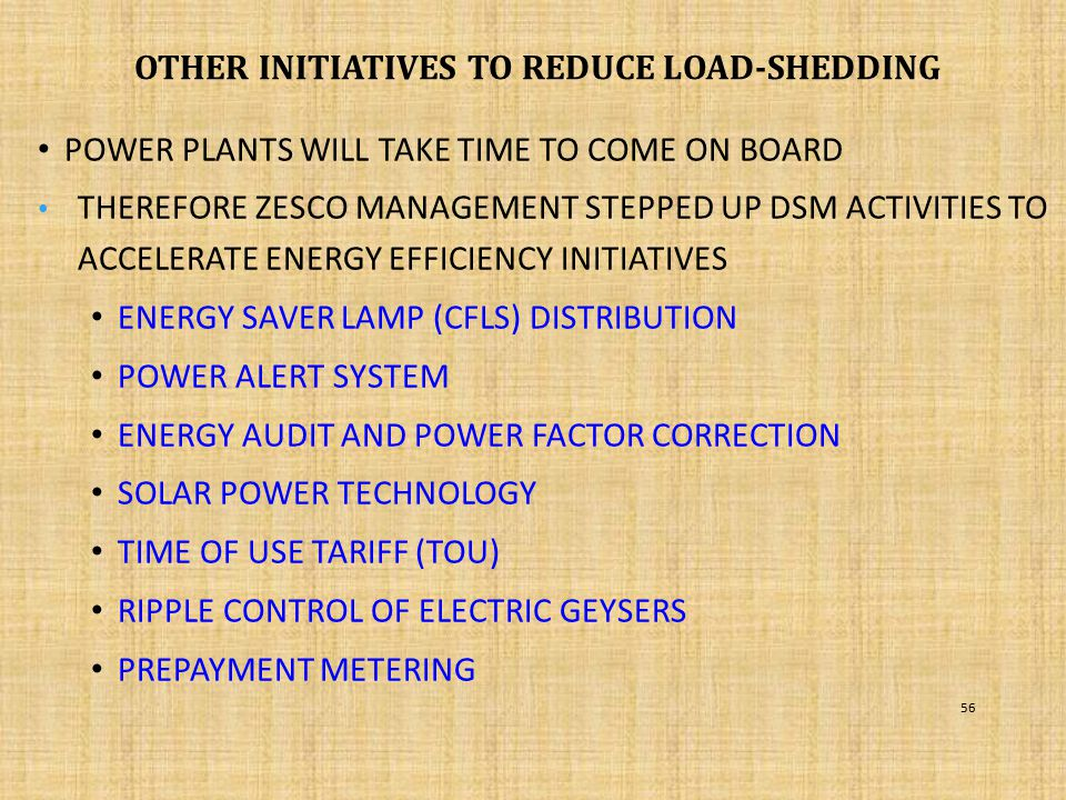 Other initiatives to reduce load-shedding