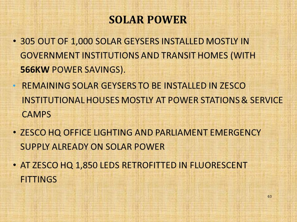 SOLAR POWER 305 out of 1,000 Solar Geysers installed mostly in Government Institutions and transit Homes (with 566KW power savings).