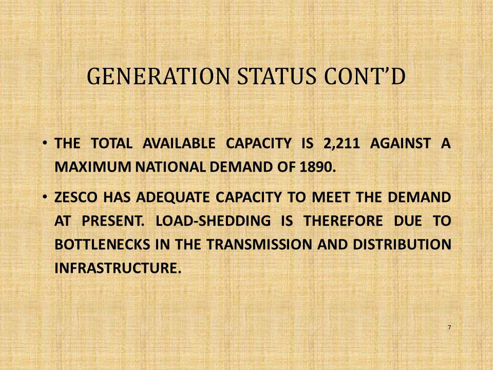 GENERATION STATUS CONT'D