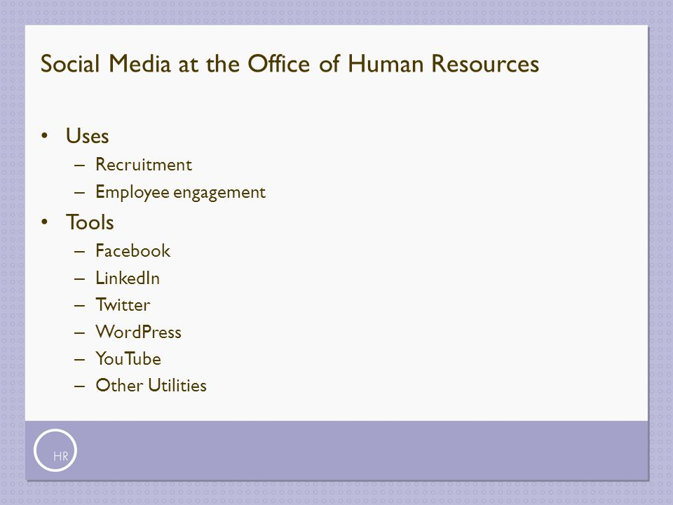Social Media at the Office of Human Resources
