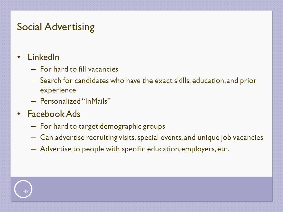 Social Advertising LinkedIn Facebook Ads For hard to fill vacancies