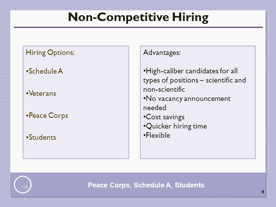 Non-Competitive Hiring Peace Corps, Schedule A, Students