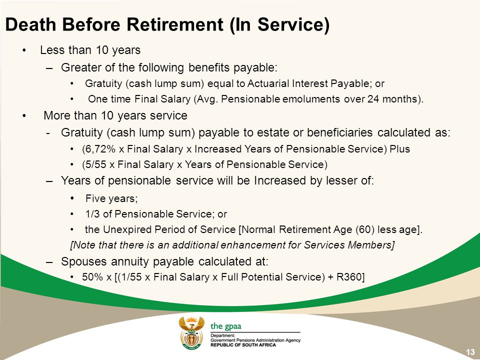 Death Before Retirement (In Service)