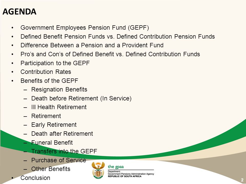 AGENDA Government Employees Pension Fund (GEPF)