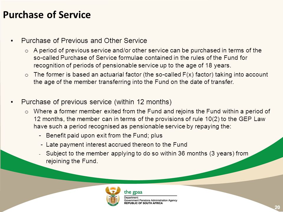 Purchase of Service Purchase of Previous and Other Service