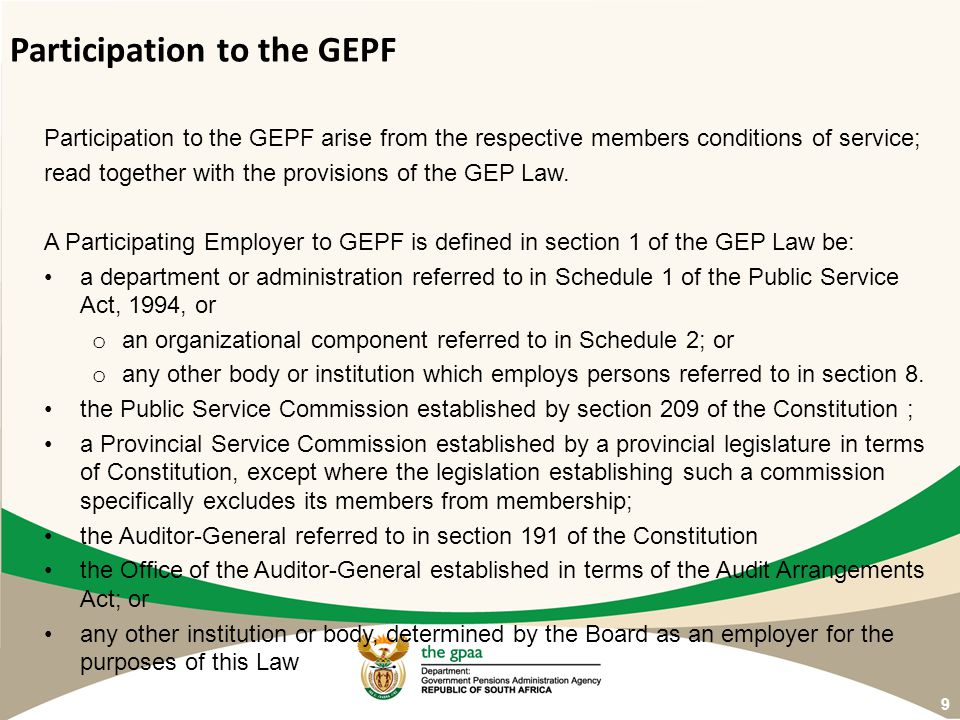 Participation to the GEPF