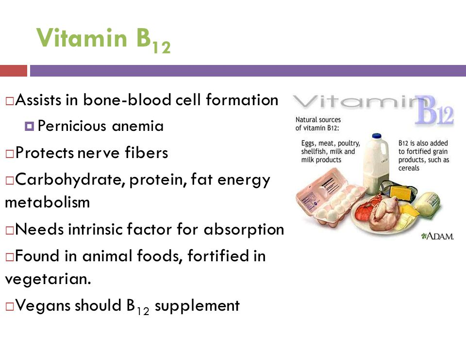 Vitamin B12 Assists in bone-blood cell formation Protects nerve fibers