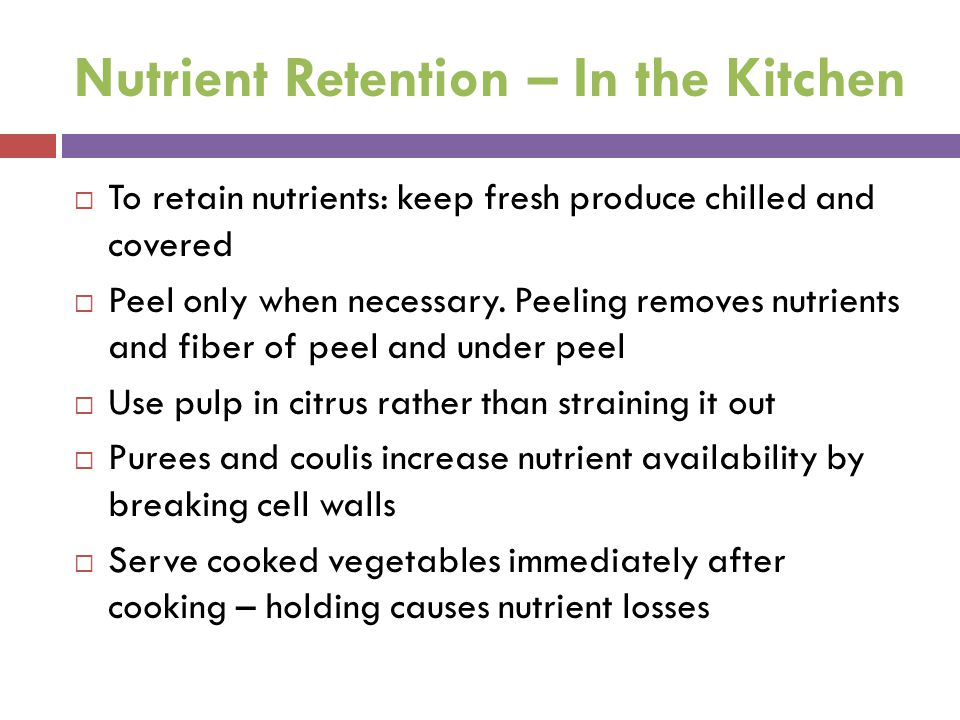 Nutrient Retention – In the Kitchen