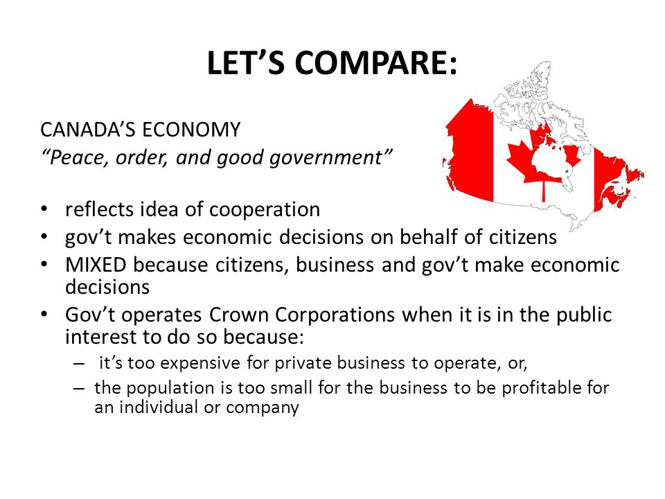 LET'S COMPARE: CANADA'S ECONOMY Peace, order, and good government