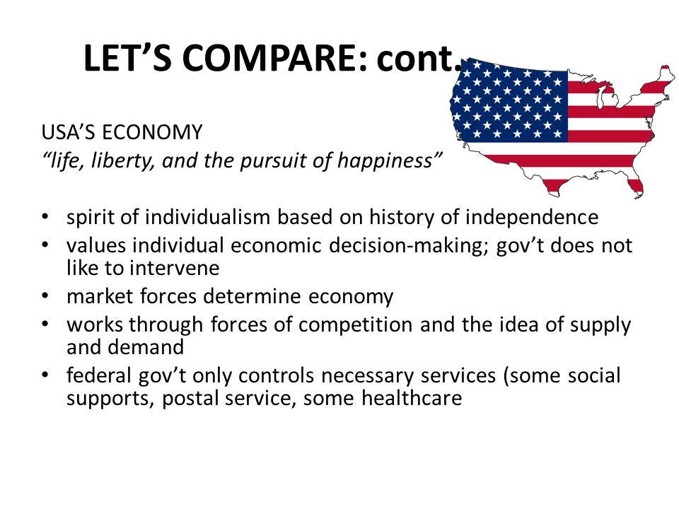 LET'S COMPARE: cont. USA'S ECONOMY