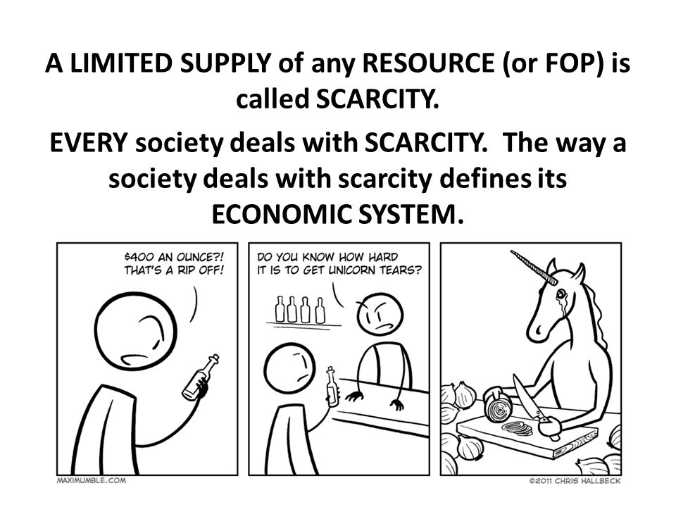 A LIMITED SUPPLY of any RESOURCE (or FOP) is called SCARCITY