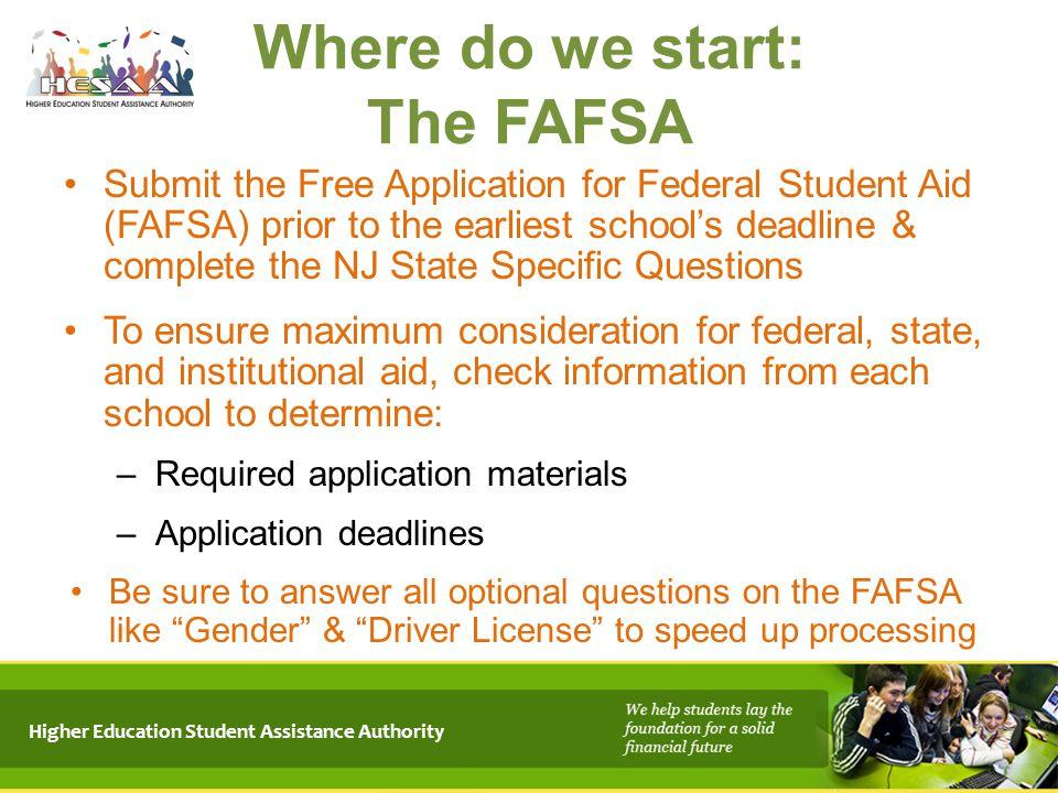 Where do we start: The FAFSA