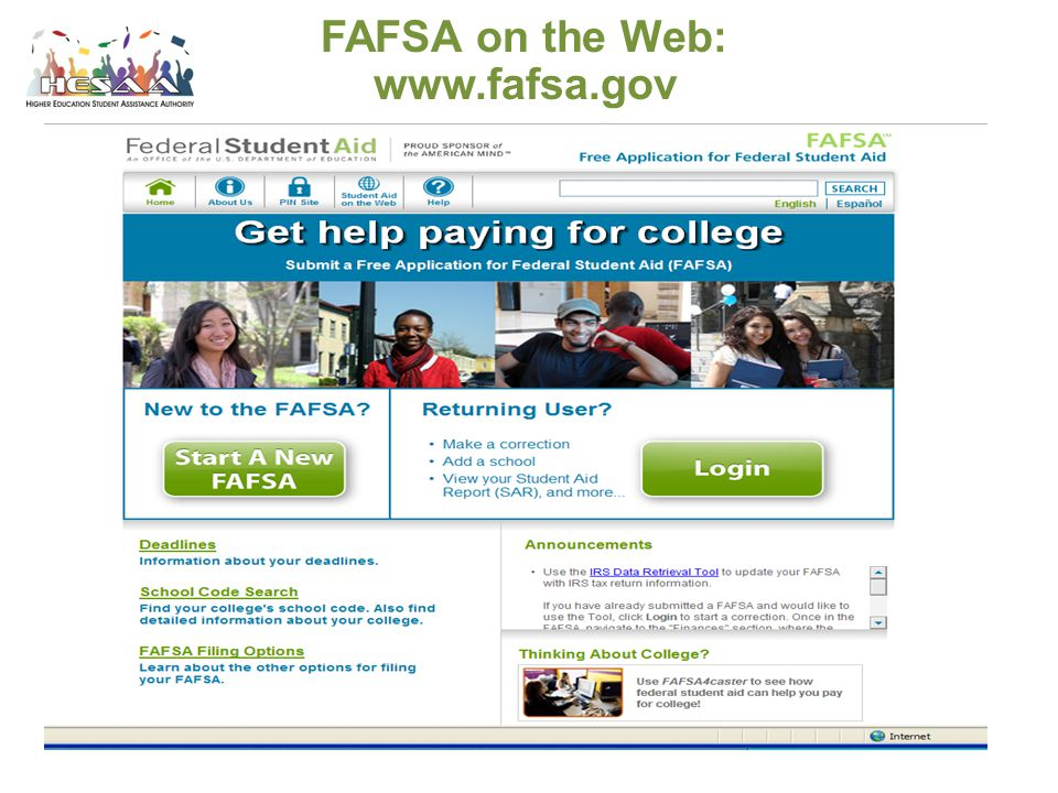 4/15/2017 FAFSA on the Web: www.fafsa.gov
