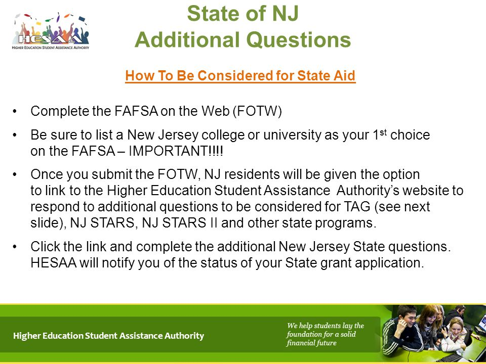 State of NJ Additional Questions