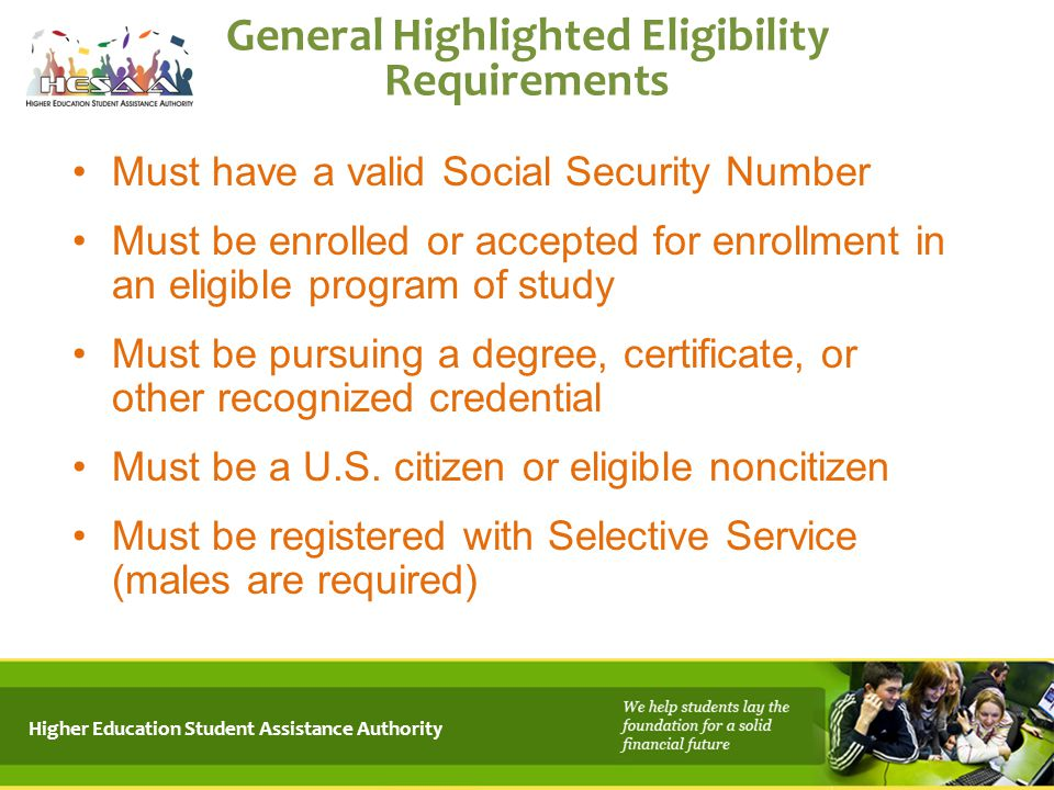 General Highlighted Eligibility Requirements