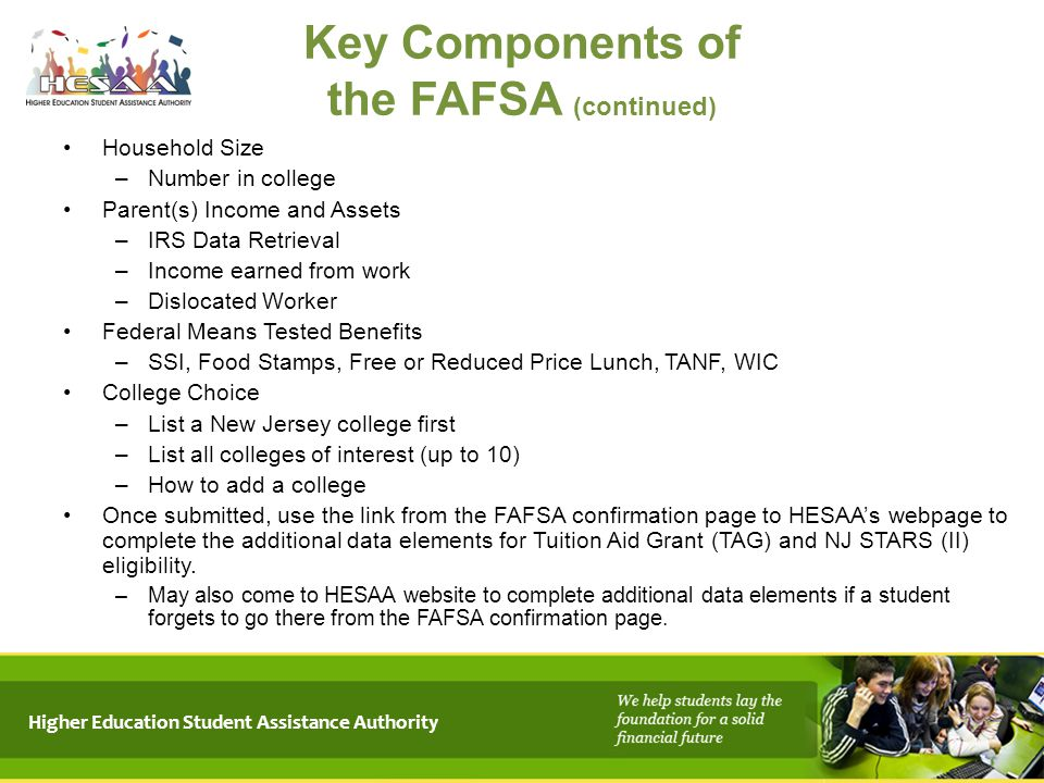 Key Components of the FAFSA (continued)