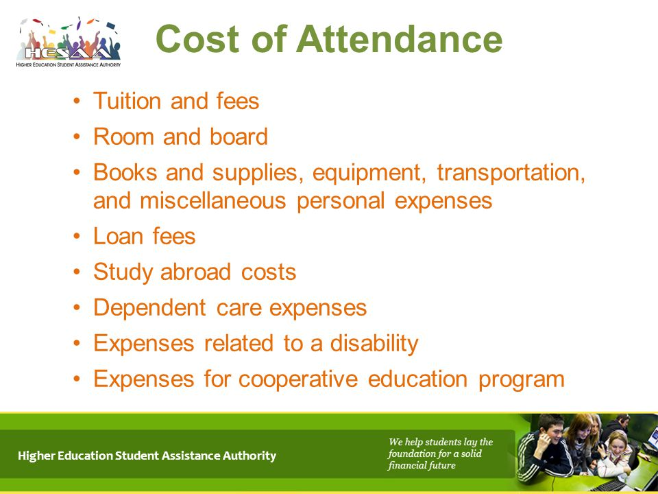 Cost of Attendance Tuition and fees Room and board