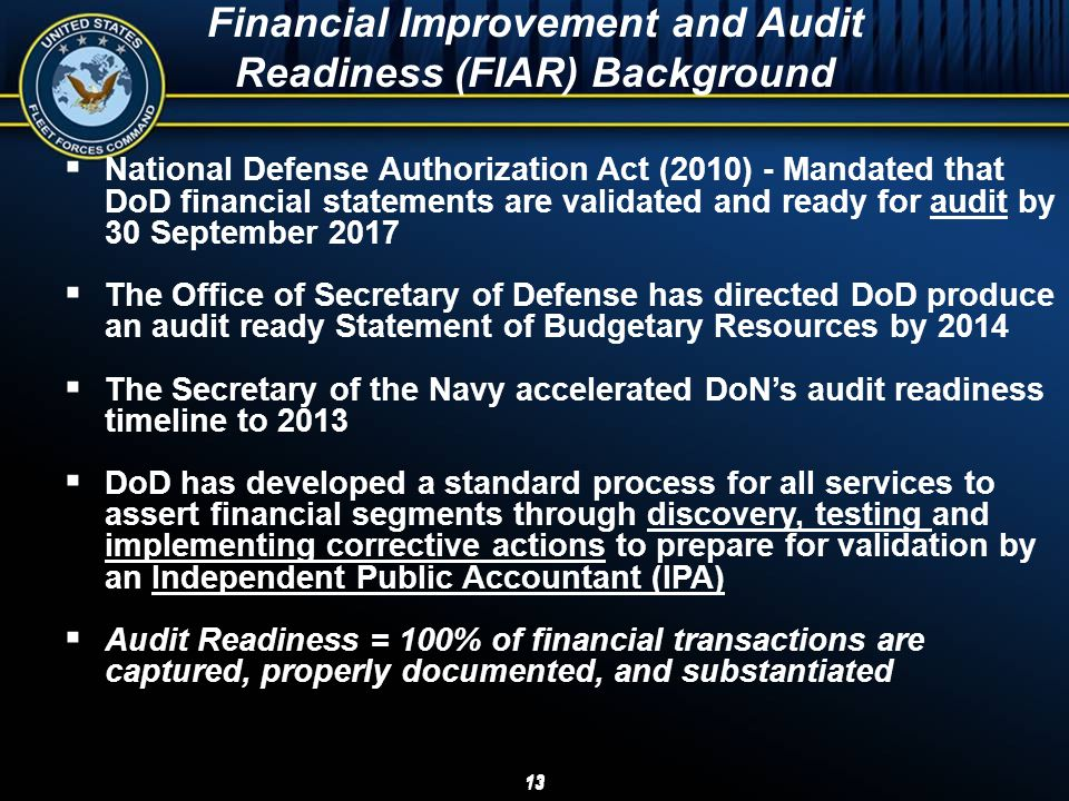 Financial Improvement and Audit Readiness (FIAR) Background
